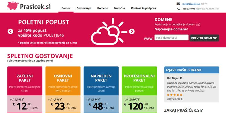 Spletno gostovanje in domene Prasicek.si