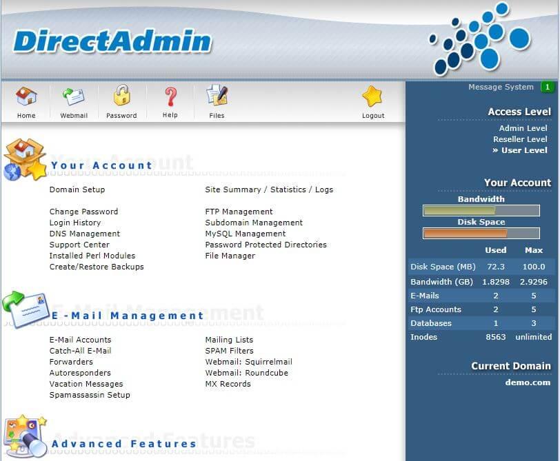Nadzorna plošča DirectAdmin